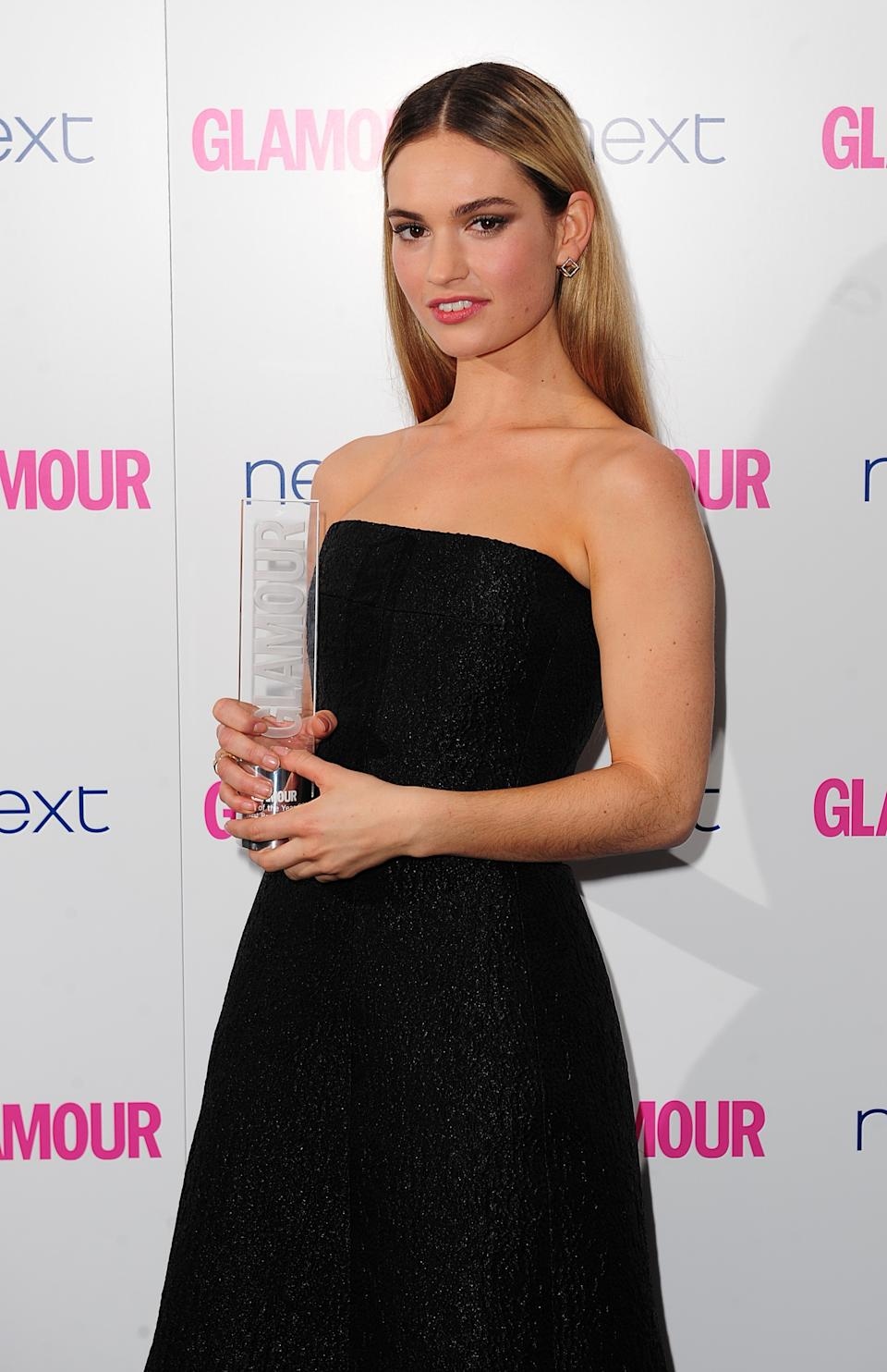 Lily James with the Next Breakthrough Award, at the 2014 Glamour Women of the Year Awards in Berkeley Square, London.