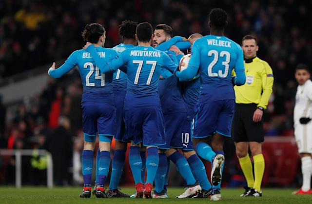 Soccer Football - Europa League Round of 32 Second Leg - Arsenal vs Ostersunds FK - Emirates Stadium, London, Britain - February 22, 2018 Arsenal's Sead Kolasinac celebrates scoring their first goal with team mates Action Images via Reuters/Peter Cziborra
