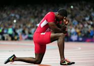 """<a href=""""http://sports.yahoo.com/olympics/track-field/justin-gatlin-1132934/"""" data-ylk=""""slk:Justin Gatlin"""" class=""""link rapid-noclick-resp"""">Justin Gatlin</a> of the United States looks on after earning the bronze medal the Men's 100m Final behind Jamaica's Usain Bolt and Yohan Blake, respectively, on Sunday August 5, 2012 at Olympic Stadium in London. (Photo by Stu Forster/Getty Images)"""