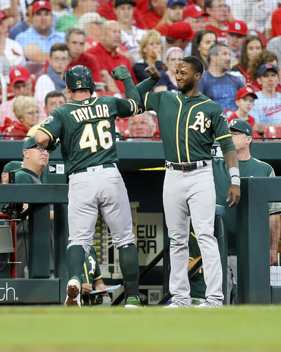 Oakland Athletics' Beau Taylor, left, is congratulated by teammate Jurickson Profar as he enters the dugout after hitting a solo home run during the fourth inning of a baseball game against the St. Louis Cardinals Wednesday, June 26, 2019, in St. Louis. (AP Photo/Scott Kane)