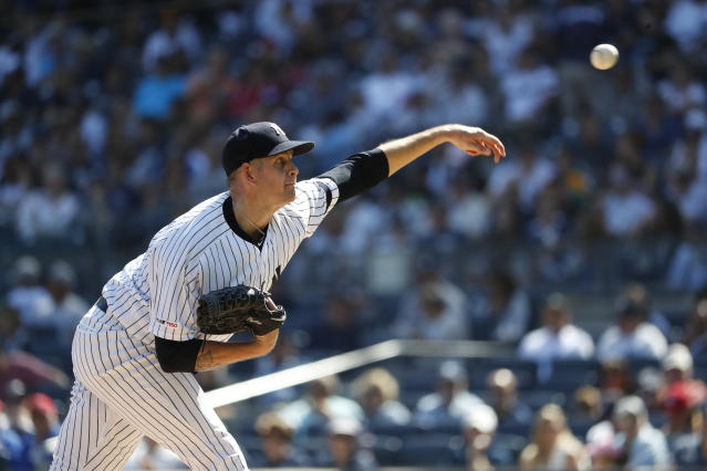 New York Yankees starting pitcher James Paxton pitches against the Toronto Blue Jays during the first inning of the team's baseball game, Saturday, Sept. 21, 2019, in New York. (AP Photo/Michael Owens)