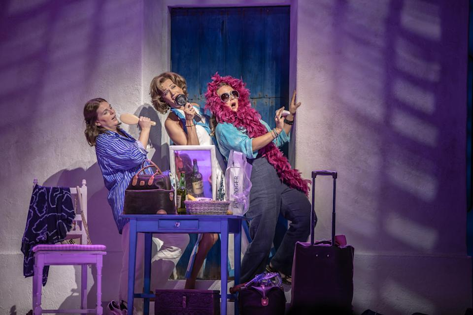 From left to right: The playful Donna (Shona White) and her gal pals, <span>wealthy multiple divorcee Tanya (Helen Anker) and author Rosie (Nicky Swift). </span>(PHOTO: Sebastien Teissier/MAMMA MIA! International Tour)