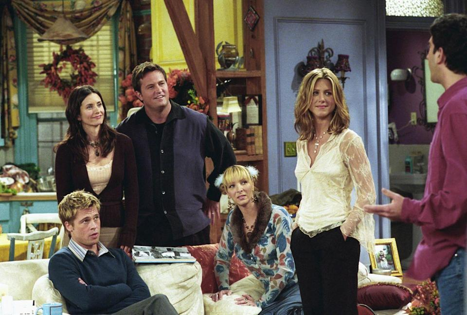 """<p>Jennifer Aniston acted alongside her then-husband for the first time when he appeared on the Thanksgiving episode of <em>Friends</em> in season 8. The actor played a former overweight classmate of Monica, Ross, and Rachel—and the founder of the """"I Hate Rachel Club.""""</p>"""