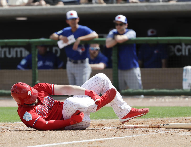 Bryce Harper hit by pitch, limps off field