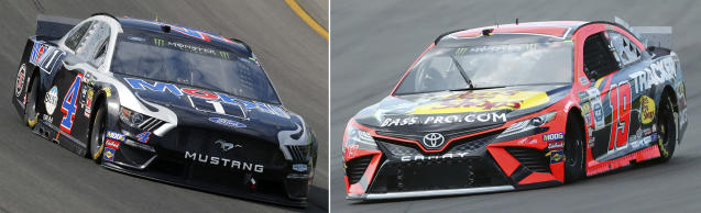 FILE - At left, in an Aug. 11, 2019, file photo, Kevin Harvick races out of Turn 1 during a NASCAR Cup Series auto race at Michigan International Speedway in Brooklyn, Mich. At right, in an Aug. 3, 2019, file photo, Martin Truex Jr. (19) heads into Turn 1 during practice for the NASCAR Cup Series auto race at Watkins Glen International, in Watkins Glen, N.Y. One race to go to set NASCAR's championship field and the final four is shaping up to be a repeat of last year. Martin Truex Jr. and Kevin Harvick are already in, while Kyle Busch and Joey Logano are above the cutline headed into Sunday's race at ISM Raceway outside of Phoenix. (AP Photo/File)