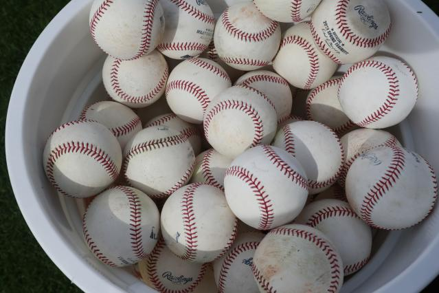 These spring training baseballs may not be air conditioned, but balls used in the majors in 2018 will all be stored in an air conditioned enclosed room. (AP Photo)