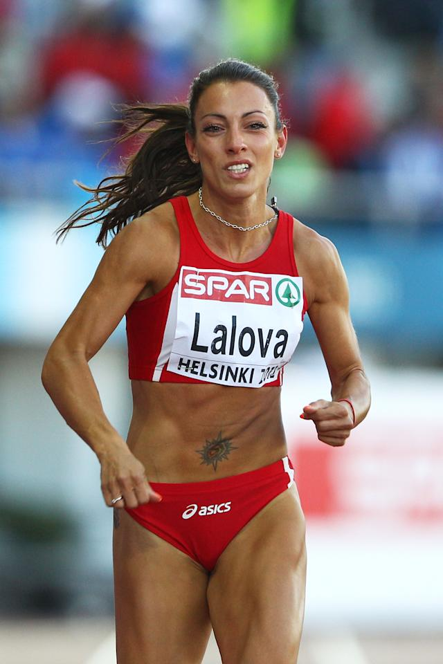 HELSINKI, FINLAND - JUNE 29:  Ivet Lalova of Bulgaria competes in the Women's 200 Metres Semi Finals during day three of the 21st European Athletics Championships at the Olympic Stadium on June 29, 2012 in Helsinki, Finland.  (Photo by Alexander Hassenstein/Bongarts/Getty Images)