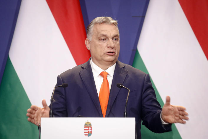 Hungarian prime minister Viktor Orban, speaks during a joint press conference with Poland's prime minister, Matteusz Morawiecki and former interior minister of Italy, Matteo Salvini in Budapest, Hungary, Thursday, April 1, 2021. Hungarian prime minister Viktor Orban hosted talks with right-wing politicians, Poland's prime minister, Matteusz Morawiecki, and former interior minister of Italy, Matteo Salvini, a potential opening step toward a new populist political force on the European stage. (AP Photo/Laszlo Balogh)