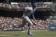 Los Angeles Dodgers' Corey Seager runs after hitting a three-run double against the San Francisco Giants during the first inning of a baseball game in San Francisco, Sunday, Sept. 29, 2019. (AP Photo/Jeff Chiu)