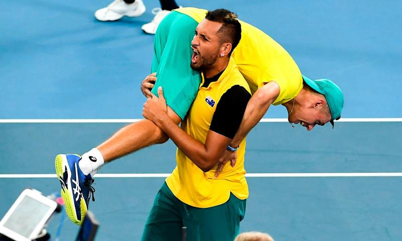 Nick Kyrgios lifts teammate Alex de Minaur