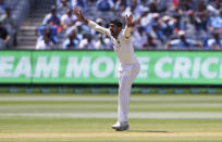 India's Jasprit Bumrah appeals unsuccessfully for a wicket during play on day one of the Boxing Day cricket test between India and Australia at the Melbourne Cricket Ground, Melbourne, Australia, Saturday, Dec. 26, 2020. (AP Photo/Asanka Brendon Ratnayake)