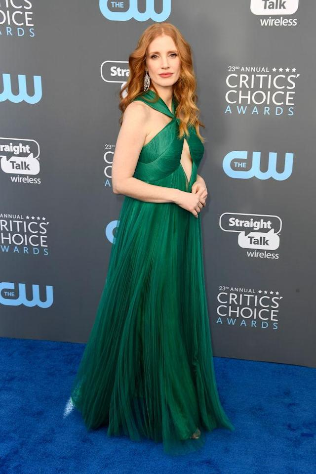 <p>Chastain's red hair shined even brighter than usual when paired with her emerald Vionnet gown with a diamond chest cutout. (Photo: Getty Images) </p>