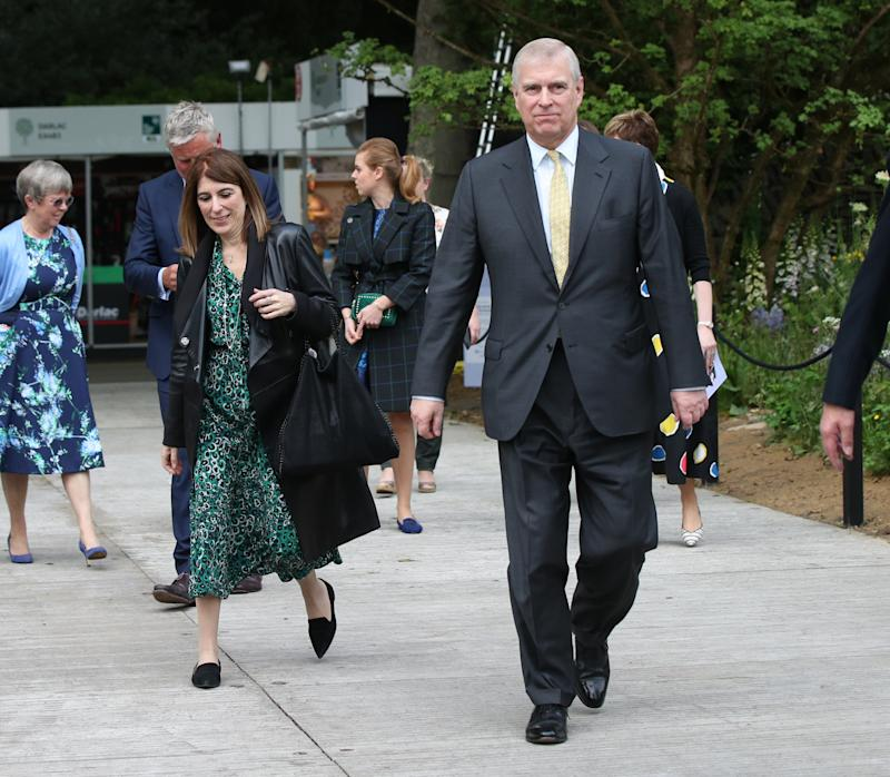 Previously unissued photo dated 20/05/19 of the Duke of York and his private secretary Amanda Thirsk at the RHS Chelsea Flower Show at the Royal Hospital Chelsea, London. The Duke is facing growing calls to give a formal statement to American authorities examining the Jeffrey Epstein sex scandal following his television interview.
