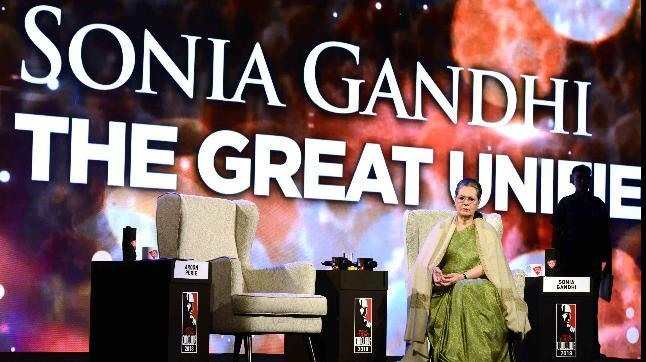 """Without taking names, Sonia Gandhi slammed the """"arrogance"""" of """"running down"""" the past achievements under previous governments."""