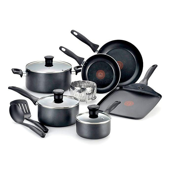 <p>The <span>T-fal Pure Cook Nonstick Aluminum 12-Piece Cookware Set</span> ($60) has all that you need to experiment with recipes.</p>