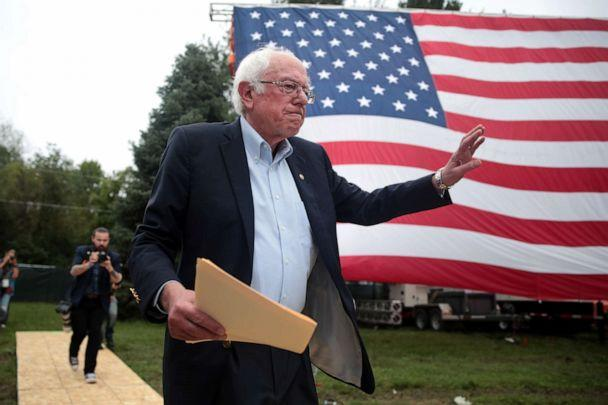 PHOTO: Democratic presidential candidate, Sen. Bernie Sanders greets guests at the Polk County Democrats' Steak Fry on Sept. 21, 2019 in Des Moines, Iowa. (Scott Olson/Getty Images)