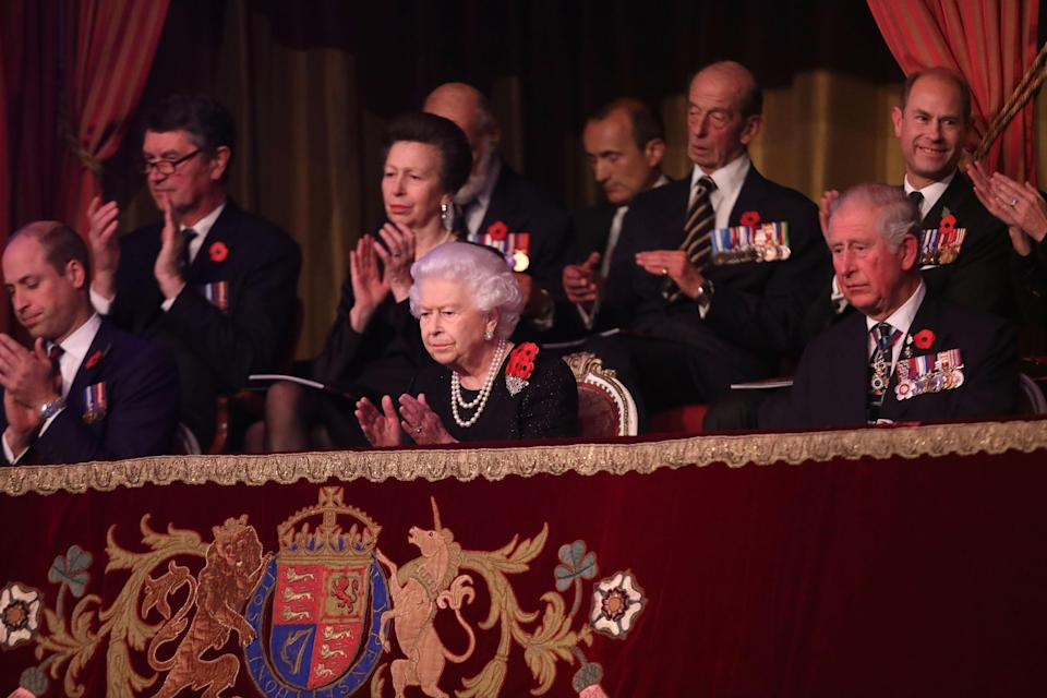 The Queen and members of the Royal Family at the Festival of Remembrance (Getty)
