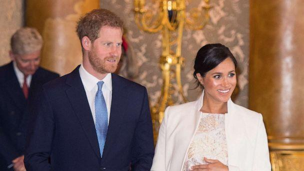 PHOTO: Prince Harry, Duke of Sussex and Meghan, Duchess of Sussex, attend a reception to mark the fiftieth anniversary of the investiture of the Prince of Wales at Buckingham Palace, March 5, 2019 in London. (Dominic Lipinski/Pool via Getty Images, FILE)