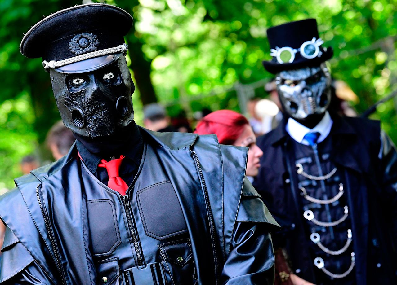"<p>Dressed up people attend a so-called ""Victorian Picnic"" during the Wave-Gotik-Treffen (WGT) festival in Leipzig, eastern Germany, on June 2, 2017. (Tobias Schwarz/AFP/Getty Images) </p>"