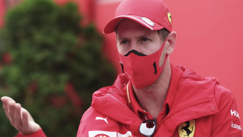 Ferrari Formula One driver Sebastian Vettel is pictured during an interview with Sky Sports' Martin Brundle.