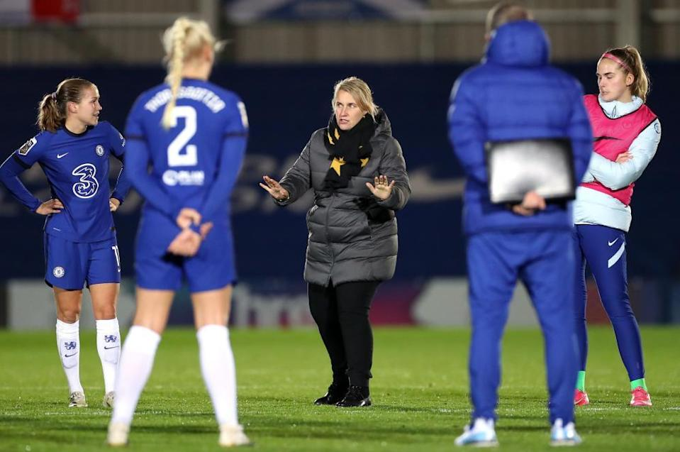 Emma Hayes with Chelsea's players last year. She left England for the US in search of coaching success.
