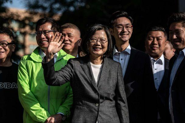 PHOTO: Taiwan's President Tsai Ing-wen waves to the media as she leaves after casting her vote in the presidential election on Jan. 11, 2020 in Taipei, Taiwan. (Carl Court/Getty Images, FILE)