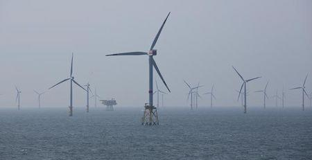 Wind turbines are pictured in RWE Offshore-Windpark Nordsee Ost in the North sea, 30 km from Helgoland