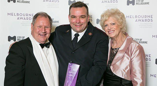 Melburnian of the Year 2013 Major Brendan Nottle with Lord Mayor Robert Doyle and Deputy Lord Mayor Susan Riley.