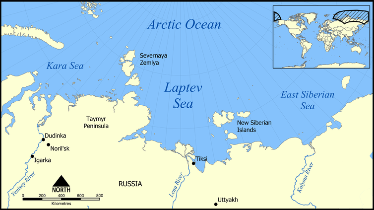 A map of the Laptev Sea with an inset world map.