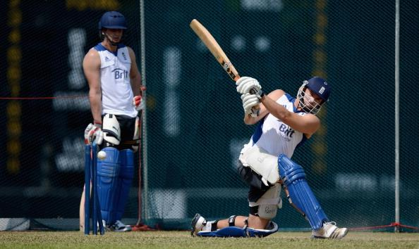 KANDY, SRI LANKA - SEPTEMBER 30:  Michael Lumb of England bats watched by Craig Kieswetter during a nets session at  Asgiriya Stadium on September 30, 2012 in Kandy, Sri Lanka.  (Photo by Gareth Copley/Getty Images)