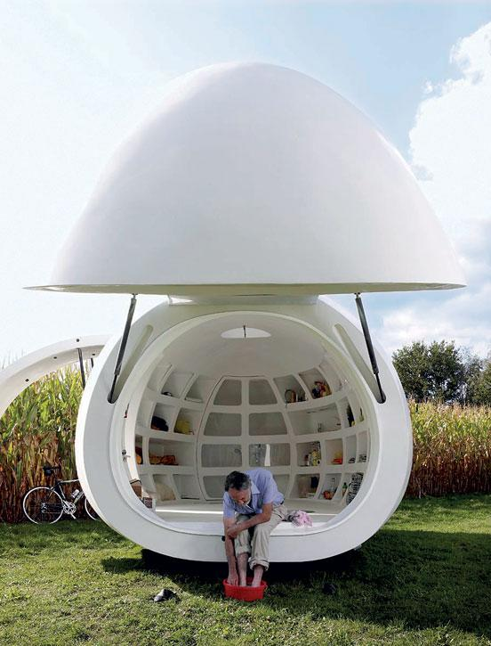 Pod Home by Lisa Tilder and Stephen Turk/Ohio State University, exterior, 129 square feet (Photo: Brad Feinknopf)