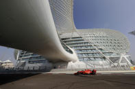 Ferrari driver Sebastian Vettel of Germany steers his car during the third free practice at the Yas Marina racetrack in Abu Dhabi, United Arab Emirates, Saturday, Nov. 30, 2019. The Emirates Formula One Grand Prix will take place on Sunday. (AP Photo/Hassan Ammar)