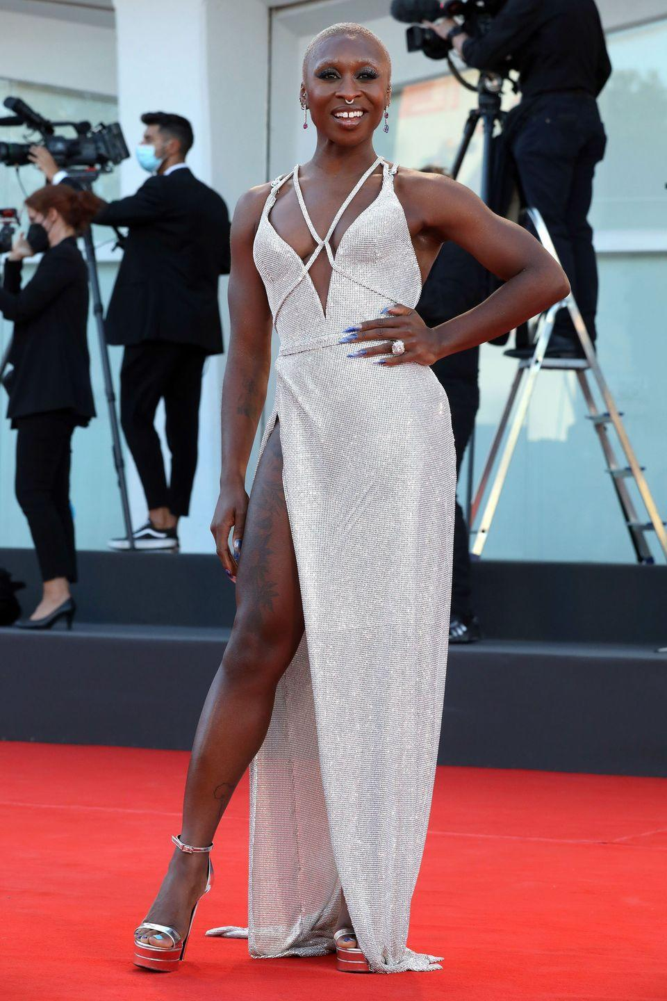 <p>Cynthia Erivo matched her cut-out Atelier Versace dress to her platform heels. </p>
