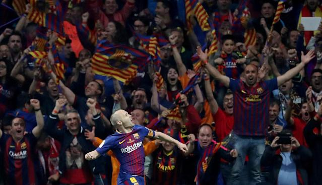 Soccer Football - Spanish King's Cup Final - FC Barcelona v Sevilla - Wanda Metropolitano, Madrid, Spain - April 21, 2018 Barcelona's Andres Iniesta celebrates scoring their fourth goal REUTERS/Susana Vera TPX IMAGES OF THE DAY