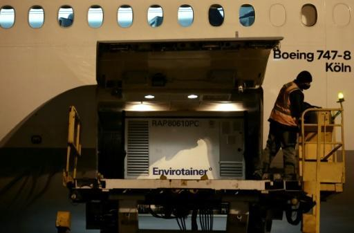 A handout picture released by the Sao Paulo State Government shows the cargo shipment of COVID-19 vaccines produced by the Chinese company Sinovac Biotech upon arrival at the Cumbica airport, in Guarulhos, Sao Paulo state, Brazil