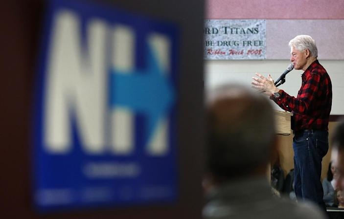 <p>Former President Bill Clinton campaigns for his wife at a campaign event at Milford Junior High School in Milford, N.H., on Feb. 7, 2016. <i>(Photo: Win McNamee/Getty Images)</i></p>