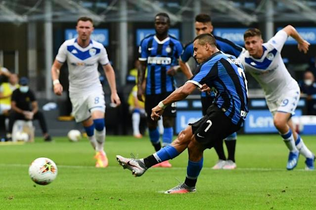 Alexis Sanchez scored one goal and set up two more for Inter Milan against Brescia (AFP Photo/Miguel MEDINA)