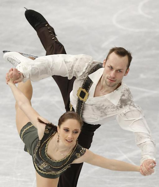 Germany's Maylin Wende and Daniel Wende compete in the pairs free skating at the European Figure Skating Championships in Budapest, Hungary, Sunday, Jan. 19, 2014. (AP Photo/Darko Bandic)