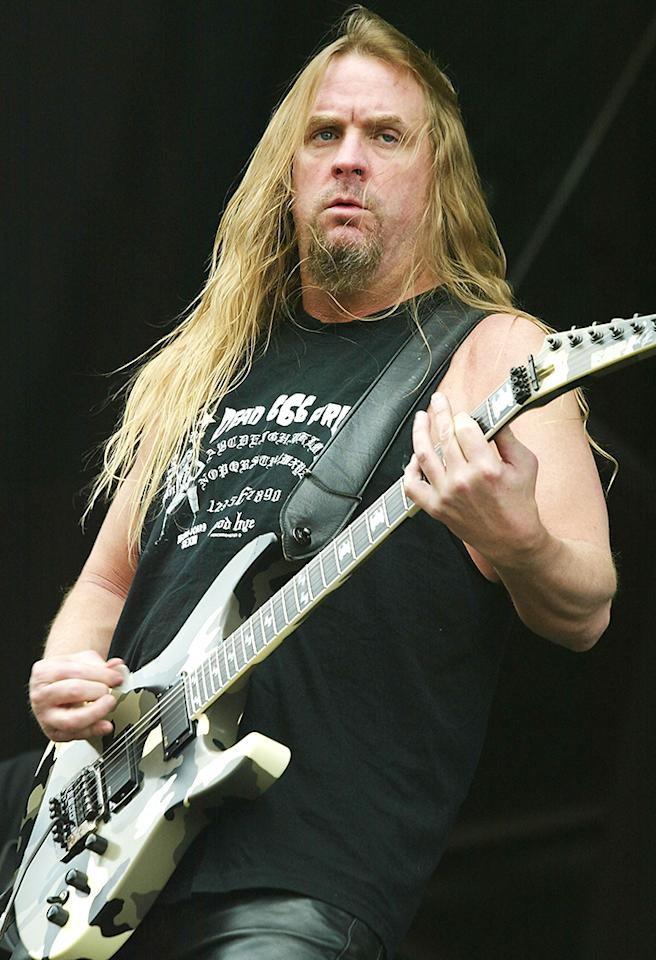 LEICESTERSHIRE, ENGLAND - JUNE 12: Jeff Hinneman of Slayer performs on stage on at the third and final day of this year's Download Festival at Donington Park, Castle Donington on June 12, 2005 in Leicestershire, England. The annual rock festival features over 90 acts on three stages over three days. (Photo by Jo Hale/Getty Images)    *** Local Caption *** Jeff Hinneman