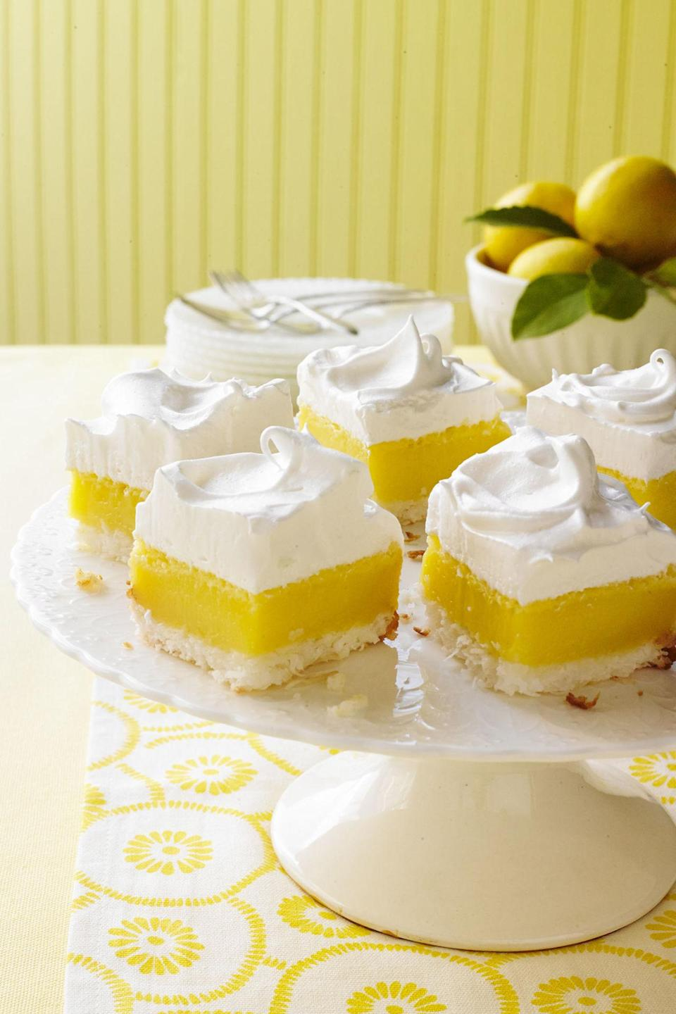 """<p><span>This decadent and creamy marshmallow frosting is next-level delicious!</span><br></p><p><strong><a href=""""http://www.countryliving.com/food-drinks/recipes/a34391/coconut-lemon-bars-marshmallow-frosting-recipe-wdy0514/"""" rel=""""nofollow noopener"""" target=""""_blank"""" data-ylk=""""slk:Get the recipe."""" class=""""link rapid-noclick-resp"""">Get the recipe.</a></strong></p>"""