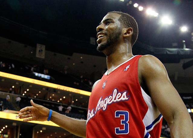 MEMPHIS, TN - MAY 13: Chris Paul #3 of the Los Angeles Clippers celebrates after their 82-72 win over the Memphis Grizzlies in Game Seven of the Western Conference Quarterfinals in the 2012 NBA Playoffs at FedExForum on May 13, 2012 in Memphis, Tennessee. NOTE TO USER: User expressly acknowledges and agrees that, by downloading and or using this photograph, User is consenting to the terms and conditions of the Getty Images License Agreement (Photo by Kevin C. Cox/Getty Images)