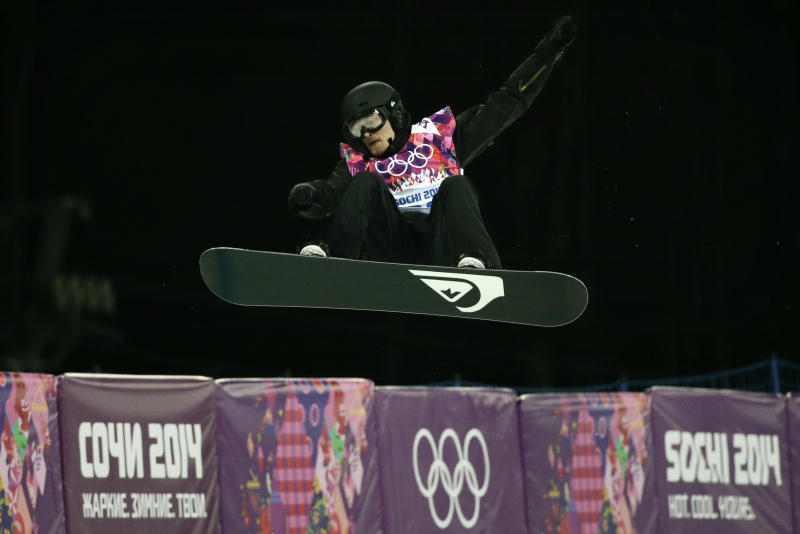 Switzerland's Iouri Podladtchikov competes in the men's snowboard halfpipe final at the Rosa Khutor Extreme Park, at the 2014 Winter Olympics, Tuesday, Feb. 11, 2014, in Krasnaya Polyana, Russia. Podladtchikov won the gold medal. (AP Photo/Jae C. Hong)
