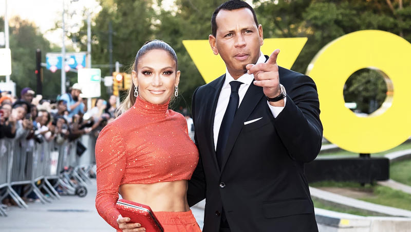 Actress Jennifer Lopez and Alex Rodriguez posing for a photo.