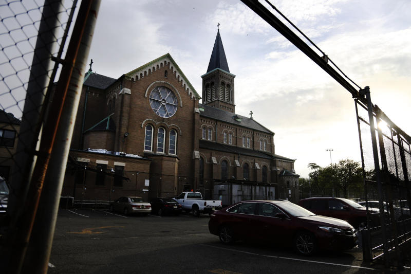 This May 28, 2020 photo shows St. Nicholas Church in Jersey City, N.J. Mitchell Garabedian, an attorney for two alleged victims of RomanCatholic Bishop Nicholas DiMarzio, told the Associated Press that Samier Tadros, 46, stepped forward after hearing that another man, 57-year-old Mark Matzek, had accused DiMarzio of sexually abusing him in the mid-1970s, when he was assigned to St. Nicholas Church. Joseph Hayden, DiMarzio's attorney, said he has evidence showing the accusations made by both men are false. (AP Photo/Jessie Wardarski)