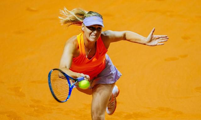 """<span class=""""element-image__caption"""">Maria Sharapova stretches to hit a forehand return during her straight sets victory against Roberta Vinci at the Stuttgart Open.</span> <span class=""""element-image__credit"""">Photograph: Niedermüller Thomas/Rex/Shutterstock</span>"""