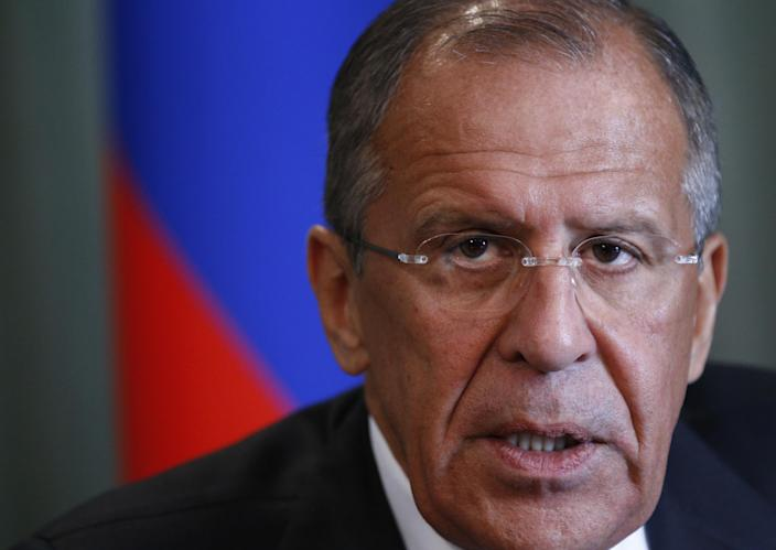 """Russian Foreign Minister Sergey Lavrov speaks in Moscow on Monday, Sept. 2, 2013. Russia's foreign minister says the information the U.S. has showed Moscow in trying to prove that the Syrian regime used chemical weapons on its civilians is """"absolutely unconvincing."""" Foreign Minister Sergey Lavrov says Washington did not show Russia detailed evidence, such as geographic coordinates or names. (AP Photo/Alexander Zemlianichenko)"""