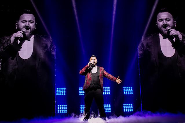 Danny Tetley performs on stage during The X Factor Live Tour at Motorpoint Arena on February 22, 2019 in Cardiff, Wales. (Mike Lewis Photography/Redferns)