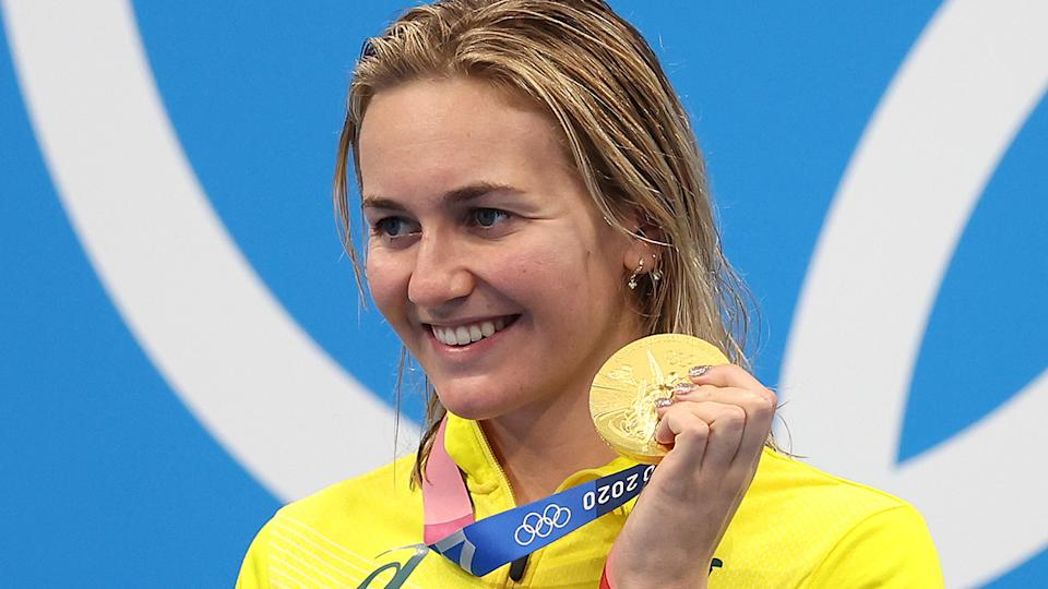 Ariarne Titmus of Team Australia poses with the gold medal for the Women's 200m Freestyle Final on day five of the Tokyo 2020 Olympic Games. (Photo by Tom Pennington/Getty Images)