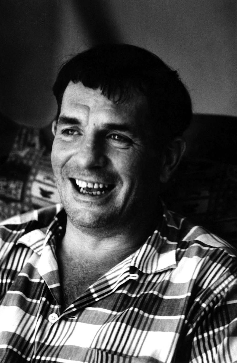 "FILE - In this 1967 file photo, author Jack Kerouac is shown in Lowell, Mass. Kerouac's only full-length play will be staged for the first time this fall. Merrimack Repertory Theatre and the University of Massachusetts Lowell is producing a three-act play called ""Beat Generation"" in the novelist's hometown of Lowell, Mass.  Kerouac died in 1969. (AP Photo/Stanley Twardowicz, File)"