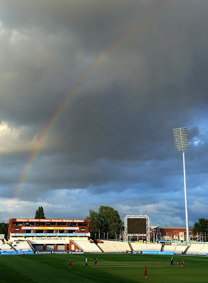 MANCHESTER, ENGLAND - JUNE 08:  A rainbow forms over the stadium during the Friends Life T20 match between Lancashire Lightning and Leicestershire Foxes at Old Trafford on June 8, 2011 in Manchester, England.  (Photo by Chris Brunskill/Getty Images)